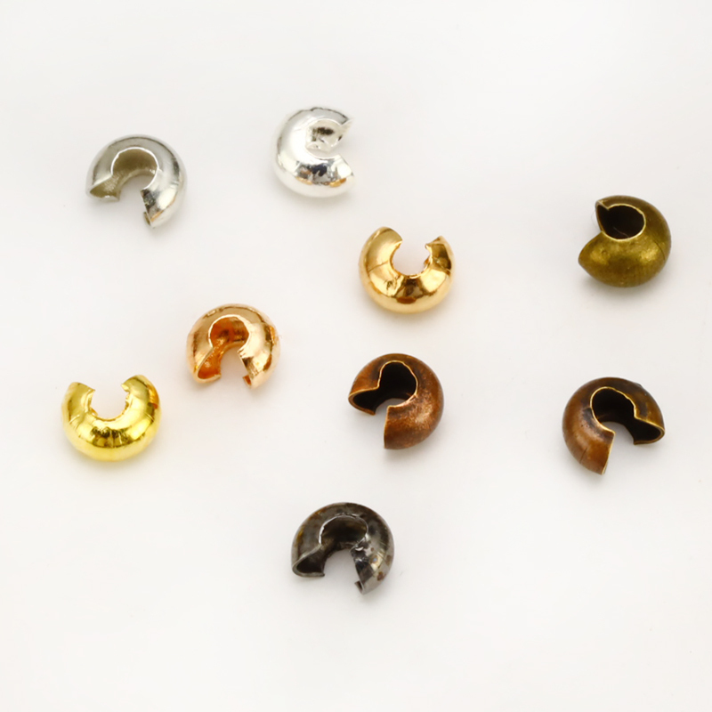100pcs/set 3/4/5 Mm Metal Round Covers Crimp End Beads Stopper Spacer Beads For DIY Jewelry Making Findings Accessories