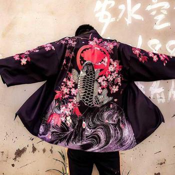 Men Shirt Harajuku Men's Kimono Streetwear Cardigan Samurai Chinese Style Loose Summer Japanese Beach Shirts Blouse Yukata Haori недорого