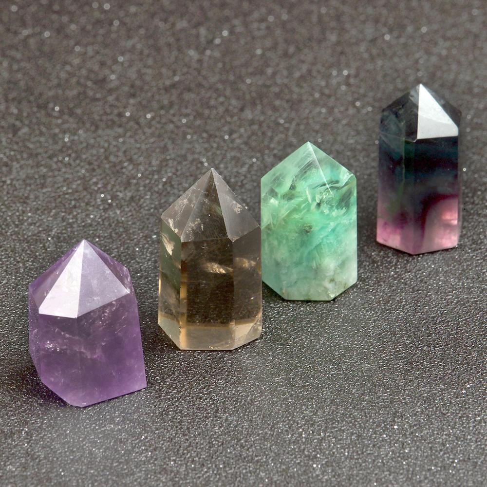1.5inch Natural Amethyst Fluorite Point Sceptres Wand Chakra Healing Crystal Reiki Stone Carved Crafts Decor With Free Pouch