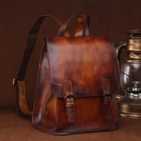 ABDB BAOERSEN Women Cowhide Vintage Backpack School Rucksack Casual Bag Large Capacity Ladies Leather Travel Daypack