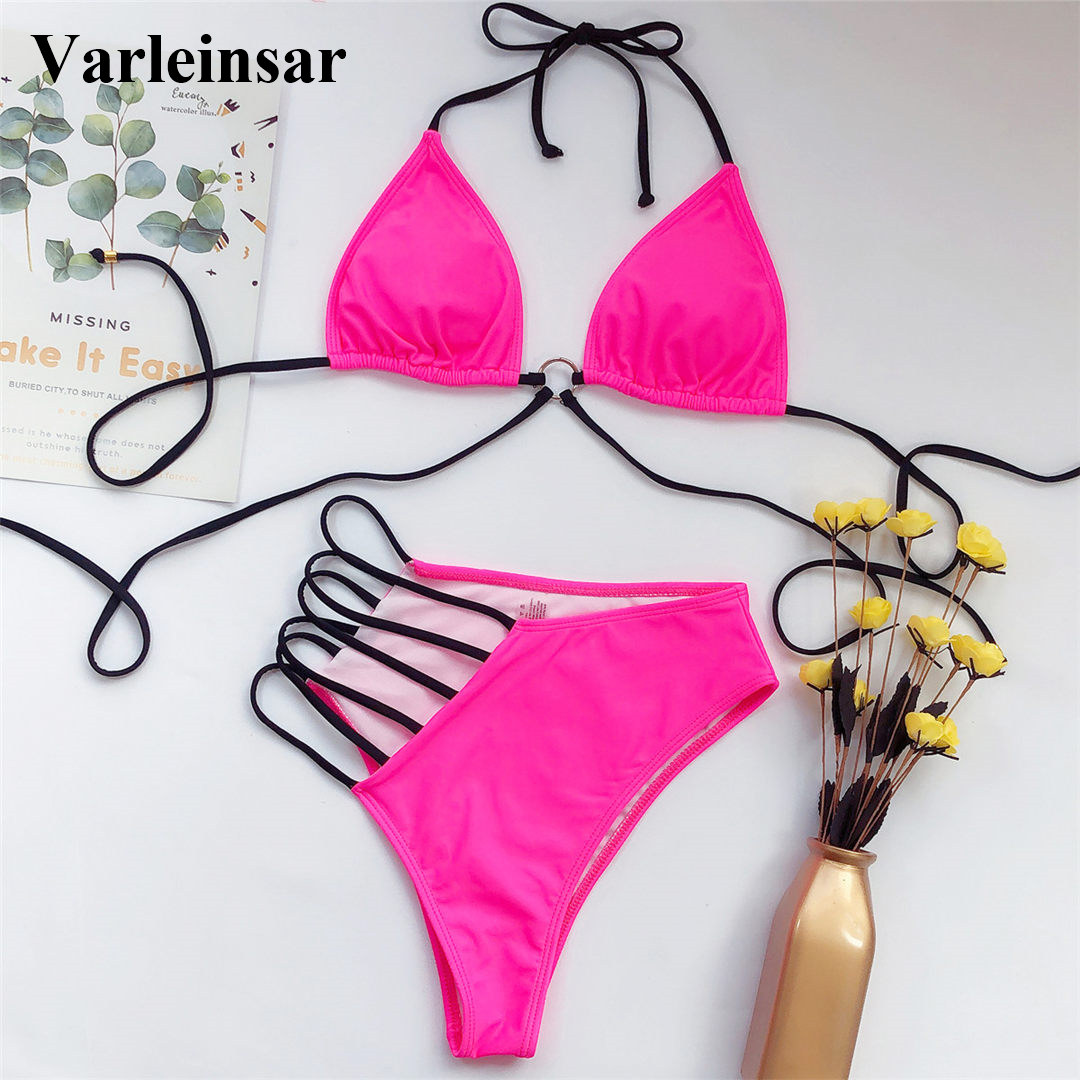 2020 Sexy Neon Yellow Pink Asymmetrical Bikini High Waist Swimsuit Women Swimwear Bikini set Halter Bather Bathing Suit V1810 4