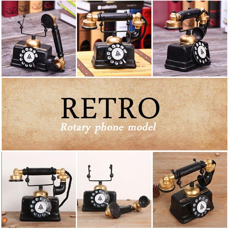 Industrial loft Retro Rotary Phone Model Crafts Decoration Shop Cafe Living room Showcase Decoration Decoration Shoot props