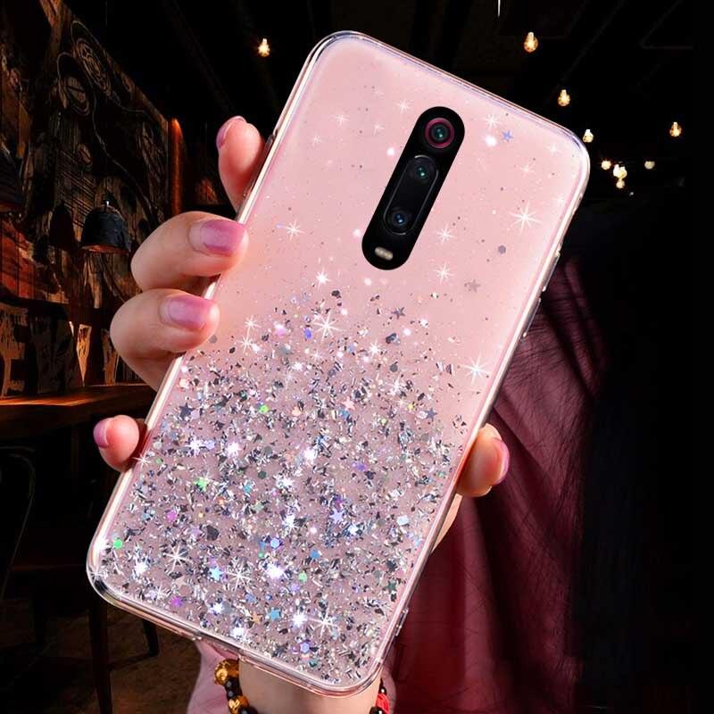 Блестящий блестящий чехол с блестками для Xiao mi Red mi K20 Note 7 8 5 6 pro, мягкий чехол для mi A3 CC9 CC9E 9 8 SE Lite 6X A2 9 TPro, чехол для телефона - Цвет: Pink