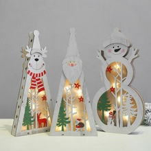New Year Christmas Decoration Crafts Color Painted LED Light Up Wooden Tabletop Ornaments Battery Not Icnluded
