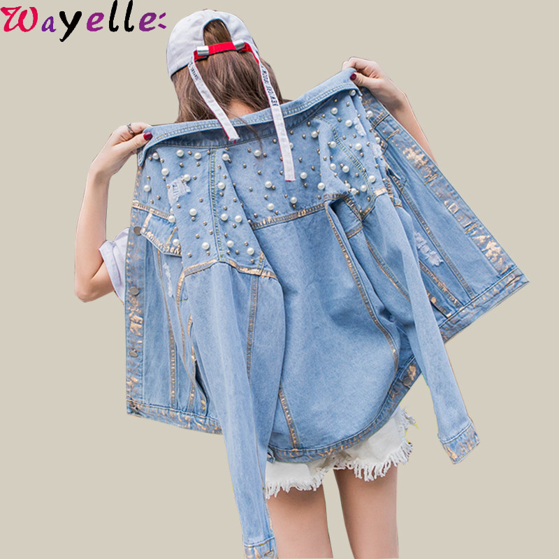 Denim Jacket Women Vintage Blue Basic Jeans With Pearls Beading 2019 Autumn Fall BTS Oversized Jean Coat