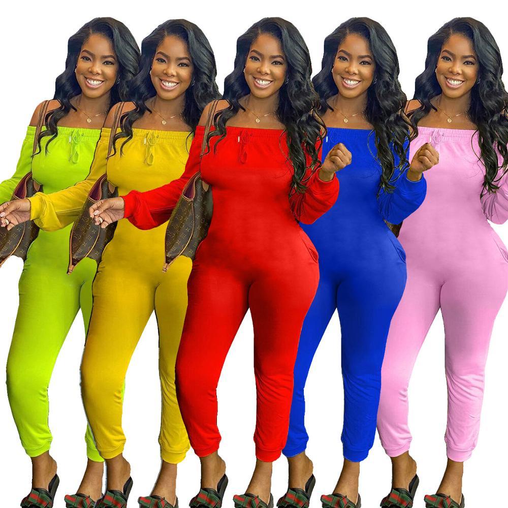 Casual Slash Neck drawstring Jumpsuit Long Sleeve bodysuit women Skinny Long rompers womens jumpsuit Solid 5 Color