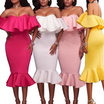 Flounce Dress Frill Ruffle Hem Sukienka Sexy Party Midi Elegant Dress Off Shoulder Women Evening Formal Dress Occasion Special curved hem striped tee dress