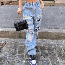 OrangeA-pantalones vaqueros de cintura alta ahuecados para mujer, pantalón informal Y2K holgado de Hip Hop con cremallera, ropa de calle Sexy para discoteca