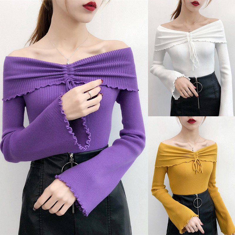 2019 Women Knit Pullover Sweaters Slim Ruched Off Shoulder sexy Sweater Ladies Fashion Flare Long Sleeve Solid slim Sweater 25 in Pullovers from Women 39 s Clothing