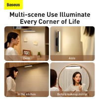 Baseus Night Light Hanging Magnetic LED Table Lamp Stepless Dimming Desk Lamp Rechargeable Cabinet Light For Bedroom Kitchen