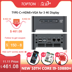 TOPTON New NUC Intel i9 10980HK i7 10750H Mini Computer 2 LAN Windows 10 2*DDR4 2*NVMe Gaming PC DP HDMI Type-C 4K AC WiFi