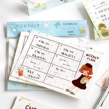 50/100 Sheets Week Plan Cartoon Sticky Notes Post Notepad Memo Pad Kawaii Stationery Office School Supplies Accessories