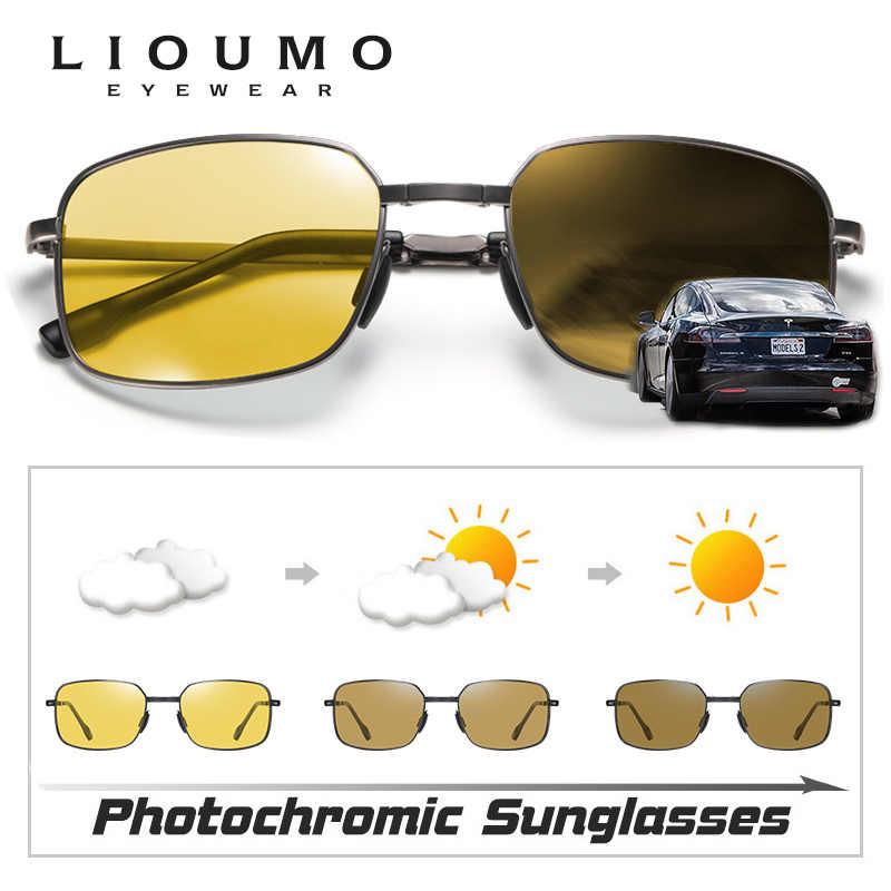 Квадратные поляризационные солнцезащитные очки для мужчин день ночное видение безопасное вождение фотохромные Солнцезащитные очки женские складные очки zonnebril heren