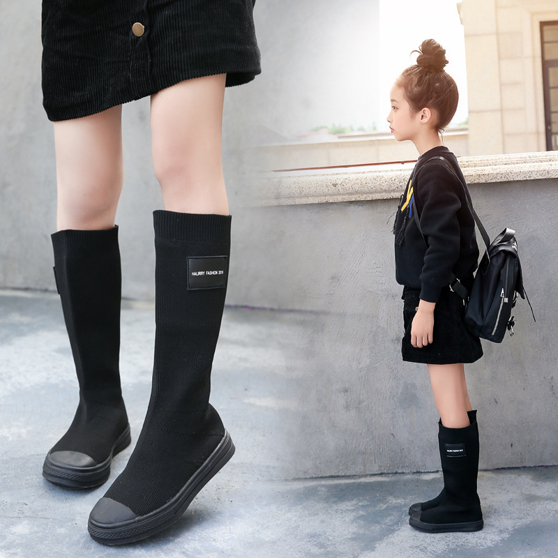 Children's Knitted Boots Girls Boots Spring And Autumn 2019 New High  Princess Shoes Over Knee Socks Boots
