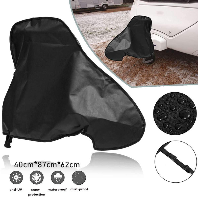 600D PolyesterUniversal Waterproof Caravan Towing Hitch Cover Rain Snow Dust Dustproof Protector For RV Tailer (Large Size 14 In