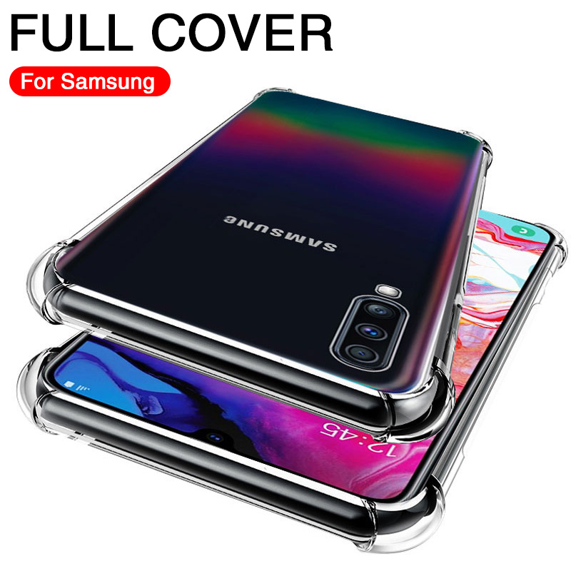 Transparent Case On Samsung A50 A60 A70 A80 A90 A40 A20 A30 A10S Shockproof TPU Silicone Soft For Samsung M40 M30 M20 Full Cases