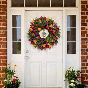 Тюльпан венок двери венок искусственный цветок тюльпана цветочный веточка двери венок летний венок для передней двери венок
