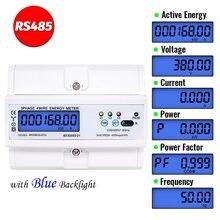 RS485 5(100) een 220/380V 3 Fase 4 Draad Din Rail Energy Meter Digitale Power Factor Monitor Met Spanning Stroom frequentie Display
