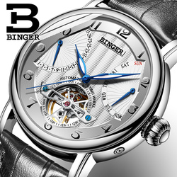 Fashion Tourbillon Watch Top brand Swiss BINGER Men's Automatic Watch men Calendar Week Leather band Waterproof Mechanical Watch