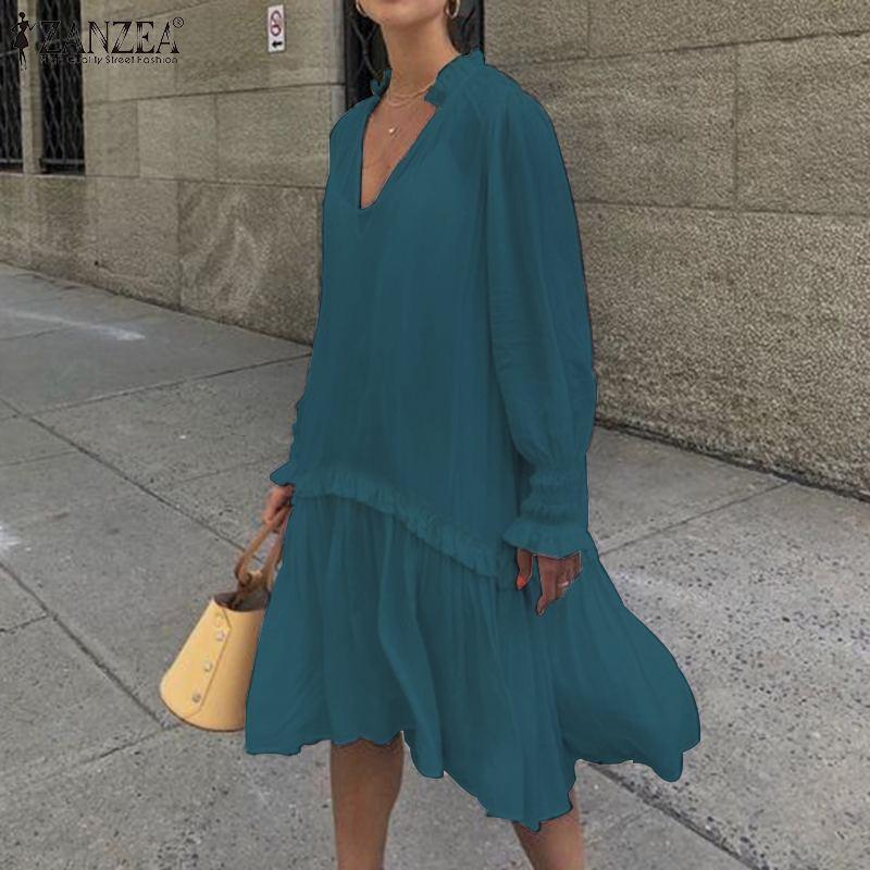 2020 Summer Sundress ZANZEA Women Puff Long Sleeve V-Neck Pleated Loose A-line Lady Casual Solid Dress Vestidos Robe Femme 5XL