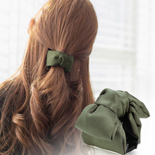 CHIMERA Vintage Hair Claws Classic Bow Acrylic Clips Crab Pins Dark Green Cloth Accessories Headdress for Women Ladies