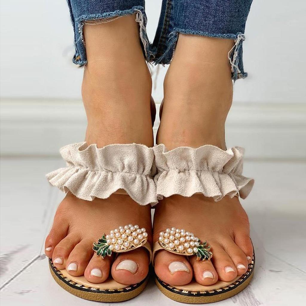 Women Slipper Pineapple Pearl Flat Toe Bohemian Casual Beach Sandals Ladies  Shoes Platform 2020 Designer Black Slides Wholesale|Low Heels| - AliExpress