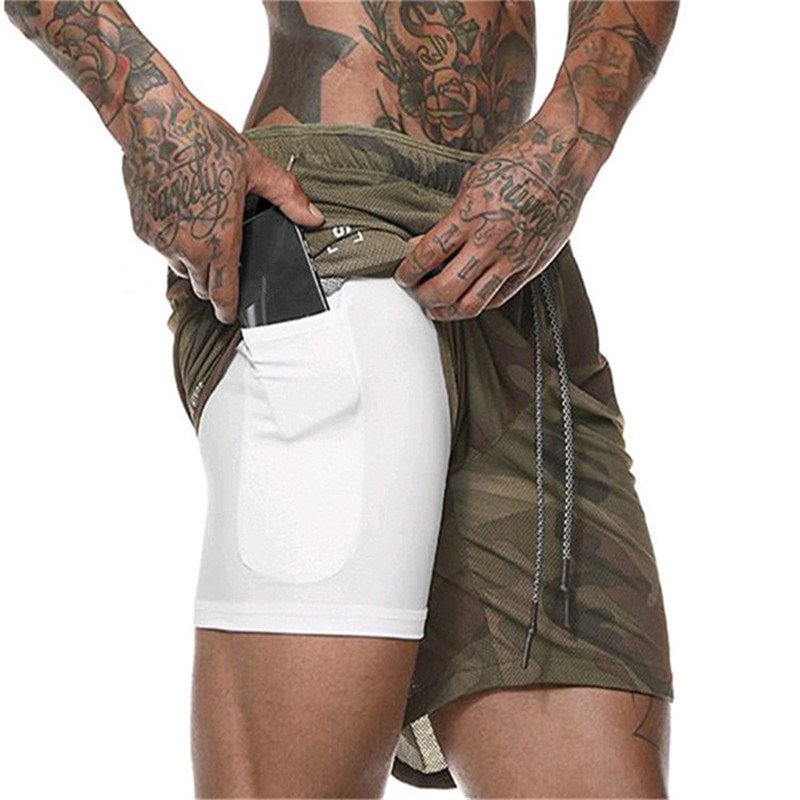 Summer explosions men's fitness shorts mesh sports quick-drying double-layer shorts fake two pieces of quick-drying running pant