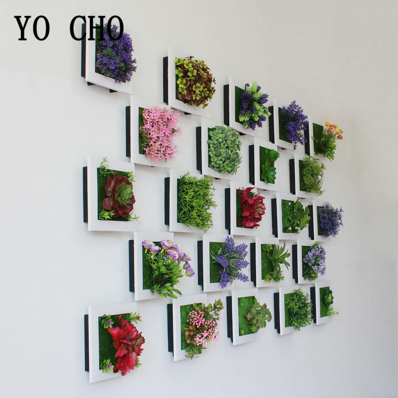 YO CHO Simulation 3D Plant Country Style Wall Sticker Hanging Artificial Plastic Flower Picture Frame Store New Year Decor Plant(China)