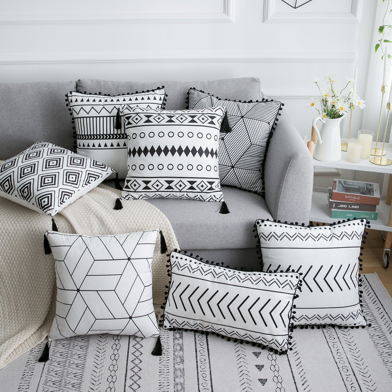 Bohemian Style Cushion Cover Geometric White Black Lines Tassels Cushion Cover Decorative Pillow Case Home Decor 45*45cm