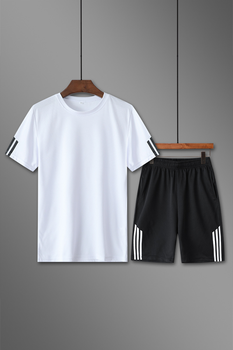 2019 Summer New Style Men Leisure Sports Suit Men's Slim Fit Fast Drying Clothes Korean-style Light Board Short Sleeve Two-Piece