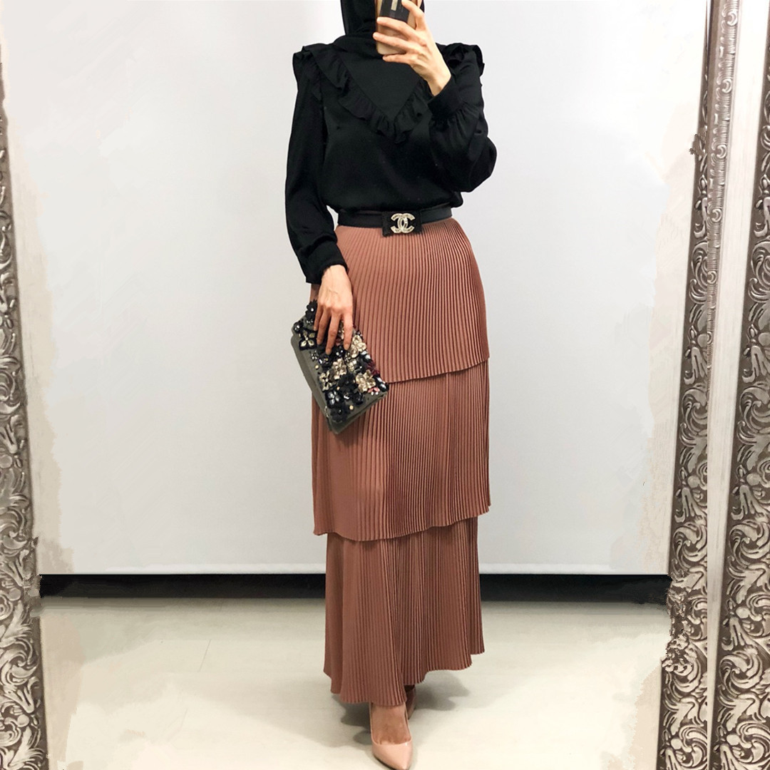 High Waist Pleated Skirt Women Muslim Fashion Vintage Multi-layer Cake Skirts For Ankle-length Ladies Elegant Islamic Cothing