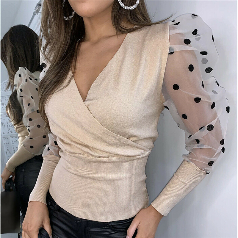 Women Fashion Long Sleeve Sheer Mesh Blouse Sexy Puff Sleeve Tops Vintage Polka Dot Printed Sleeve Slim Knitted Blouse Shirts