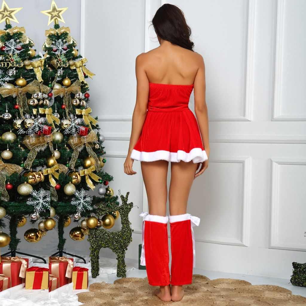 クリスマスファッション女性レースセクシーなランジェリータイツ下着ボディスーツ誘惑赤ブレースはスカート寝間着ランジェリーセット L42