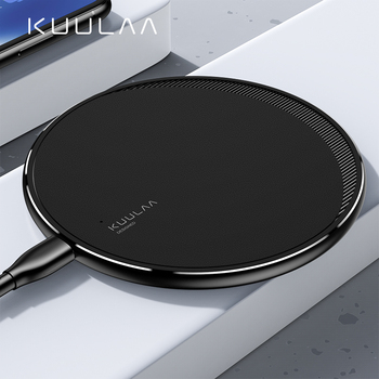 KUULAA Qi Wireless Charger For iPhone 11 Pro 8 X XR XS Max 10W Fast Wireless Charging for Samsung S10 S9 S8 USB Charger Pad qi wireless fast charger pad bluetooth speaker nfc hifi bass loundspeaker music player charging for iphone 8 x for samsung