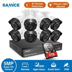 SANNCE 8CH 5MP-N HD DVR Home Security Camera System 8pcs 5MP AI Human Detection IP66 Outdoor Cameras Surveillance CCTV Kit