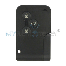 Smart key card 3 buttons 433mhz PCF7947 with key insert together for Renault Megane intelligent card uv ink printed barcode card and plastic member key card 3 part supply