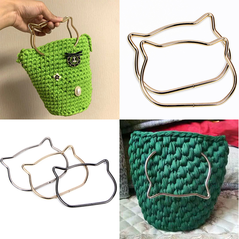 1 Pc Cute Cat Ear Metal Bag Handle Replacement For DIY Shoulder Bags Making Handbag Part Accessories