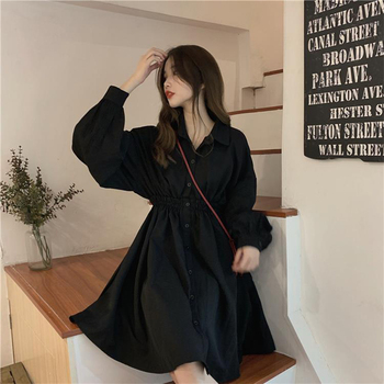 Woman Dress Long Sleeve Preppy Style Solid Sweet undefined Dresses Simple Elegant Pleated Japanese Students Womens Streetwear 1