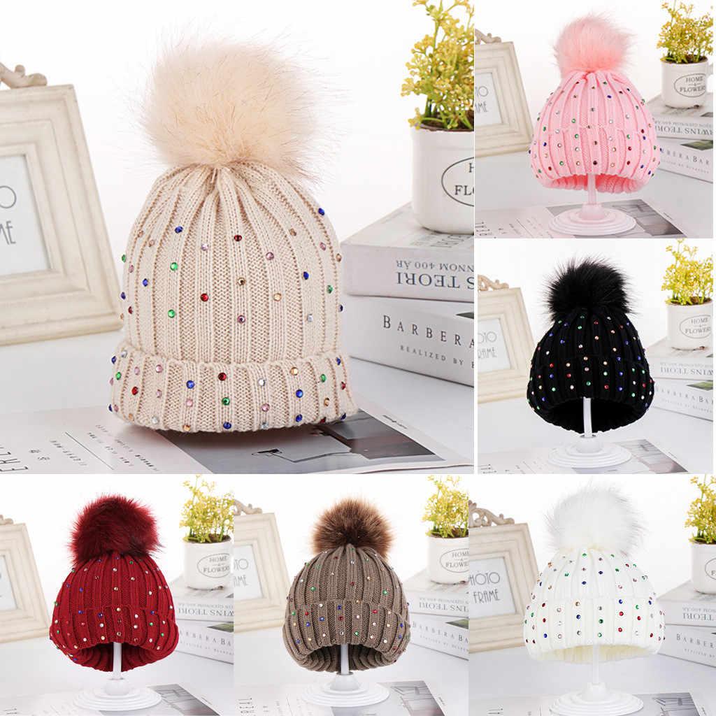 2019 เด็กทารกหมวก Rhinestone อุ่นฤดูหนาวขนสัตว์ Beanies หมวกคุณภาพสูงถัก Hemming หมวกเด็กหมวก