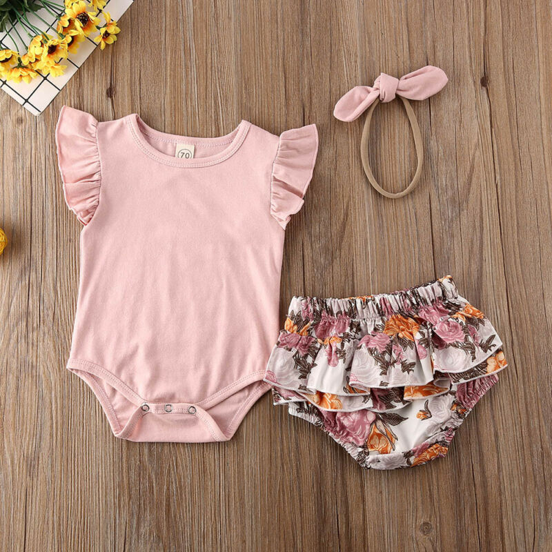 3PCS Newborn Set 2020 Baby Girl Outfits Clothes Tops Romper + Floral Shorts Pants Infant Clothing Set