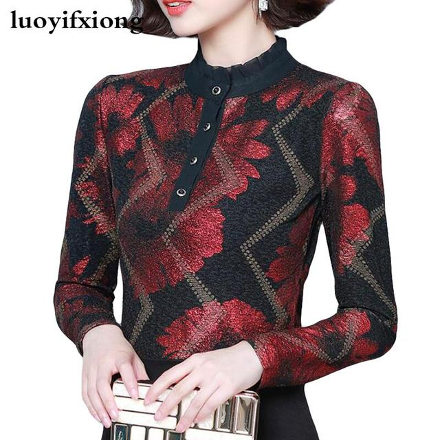Women Blouses 2019 Autumn Fashion Print Womens Tops and Blouses Long Sleeve Stand Collar Plus Size Women Shirts Blusas Mujer 1