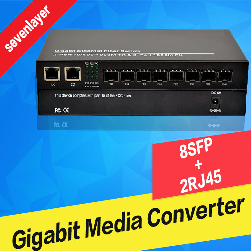 10/100/1000M 8 Sfp 2 Rj45 Fiber Optic Switch Gigabit  8SFP 2 UTP   Fiber Optical  Media Converter For Ip Camera