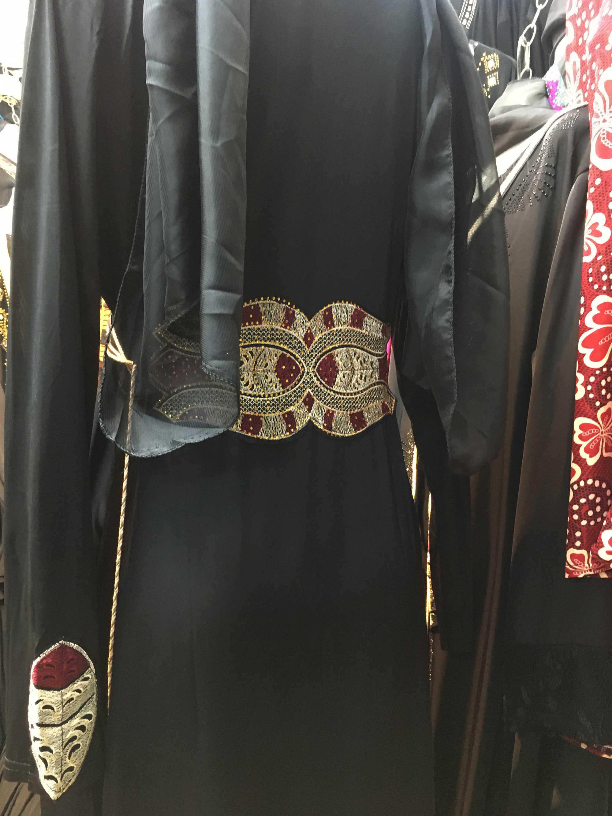 무료 배송 두바이 Abaya 중동 가운 라마단 옷 다이아몬드 Embroide Kaftan Jibab 이슬람 무슬림 복장 여성을위한