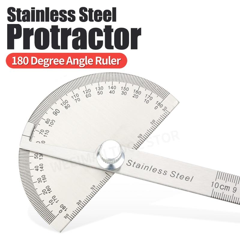 Regla de ángulo goniométrico de 180 grados, herramientas de carpintería de acero inoxidable, Regla de medición rotativa 100/150