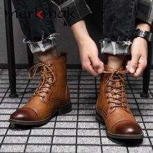 Мужские модные ботинки merkmak Винтажные из натуральной кожи