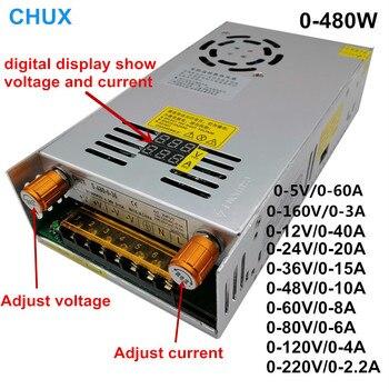 480w Digital display Switching Power Supply 5V12v 24v 36v 48v 60v 160V Adjustable AC-DC Converter 80v 120v 220V LED Power supply