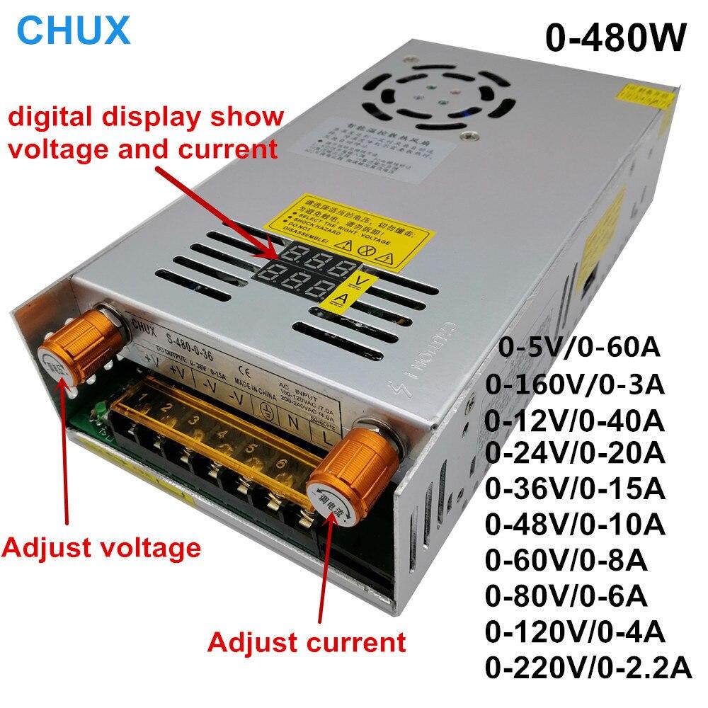 480w affichage numérique alimentation à découpage 5V12v 24v 36v 48v 60v 160V convertisseur de AC-DC réglable 80v 120v 220V alimentation en alimentation LED