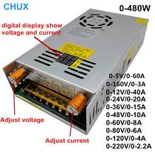 480w cyfrowy wyświetlacz zasilacz 5V12v 24v 36v 48v 60v 160V regulowany AC-DC konwerter 80v 120v 220V zasilacz LED tanie tanio CHUX 0-50A 50-60HZ S-480W Pojedyncze 401-500 w 5vdc 12VDC 24VDC 36VDC 48VDC 60VDC 80VDC 120VDC 160vdc 220VDC AC110V 220V
