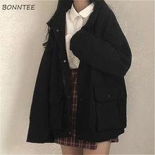 Chaquetas básicas de mujer de manga larga para Primavera, prendas de vestir femeninas, holgadas, BF, Harajuku, estudiantes Chic, combina con todo, con bolsillos sólidos