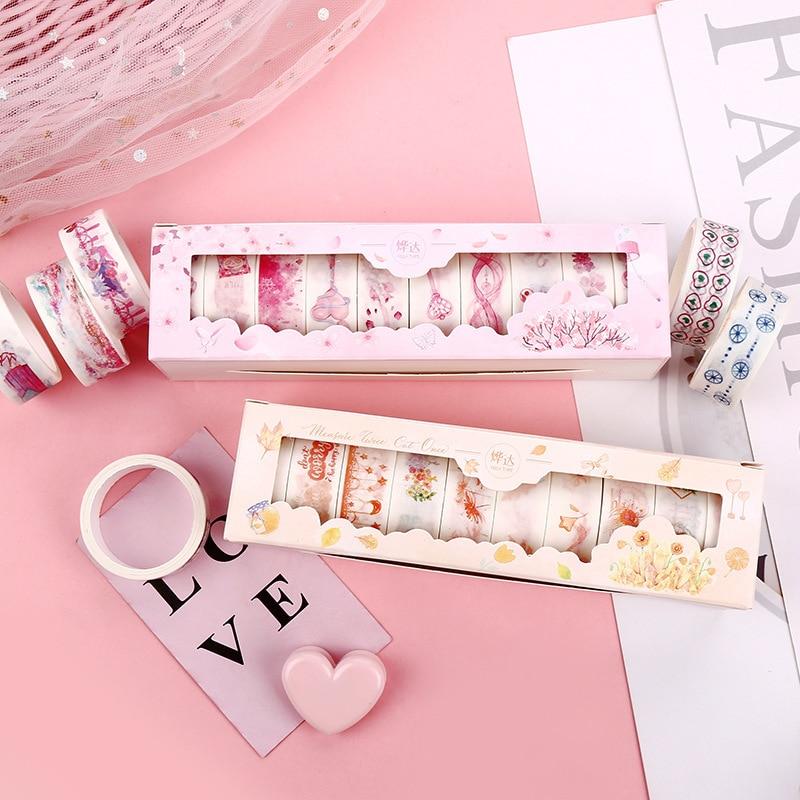 Kawaii Washi Tape Cartoon Stationery Creative Masking Tape Washi Washitape Scrapbooking Cinta Adhesiva Decorativa Vintage 10pcs